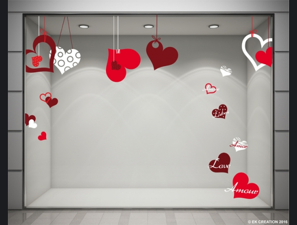 Decoration vitrine saint valentin for Decoration exterieur st valentin
