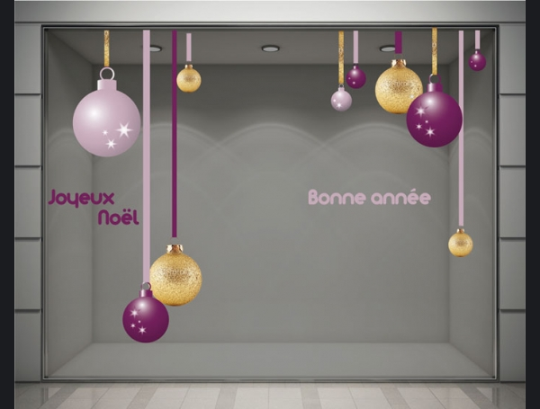 Stickers vitrines decoration noel boules best 20 for Decoration vitrine noel exterieur