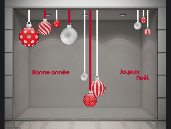 stickers noel boule rouge et argent stickers pour la d coration de vitrines de magasins ek. Black Bedroom Furniture Sets. Home Design Ideas
