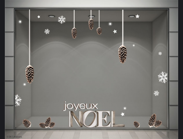 stickers decoration vitrine magasin noel pomme de pin
