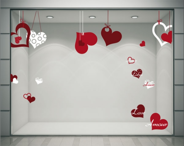 Stickers autocollants pour la d coration de vitrines de magasins - Decoration st valentin ...