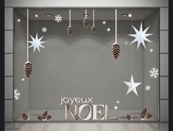 stickers noel pomme de pin avec toiles en volume stickers pour la d coration de vitrines de. Black Bedroom Furniture Sets. Home Design Ideas